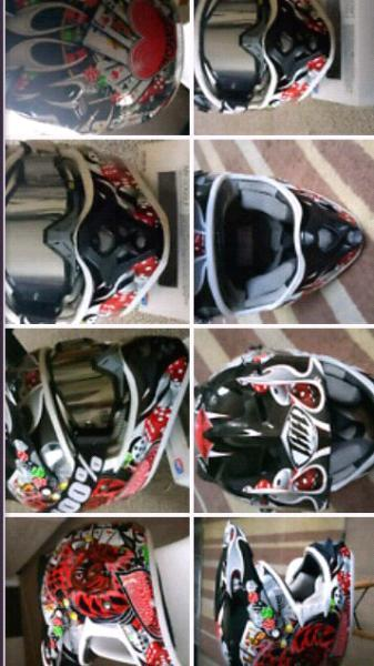 Near new joker style moto helmet sell $120 or $160 with goggles