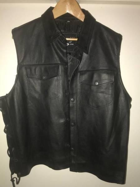 Leather Vest as new collar, old school style suit Harley Davidson