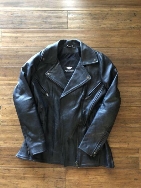 Ladies leather motorcycle jacket