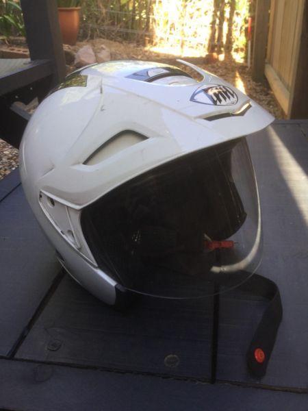 Helmet jet pilot style open face with clear visor