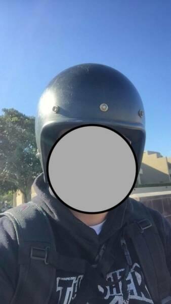 motorbike helmet, old school