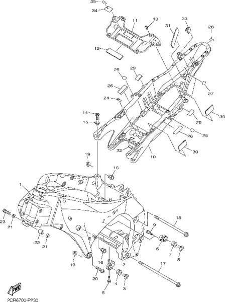 Yamaha R1 2015 - 2016 rear OEM subframe brand new