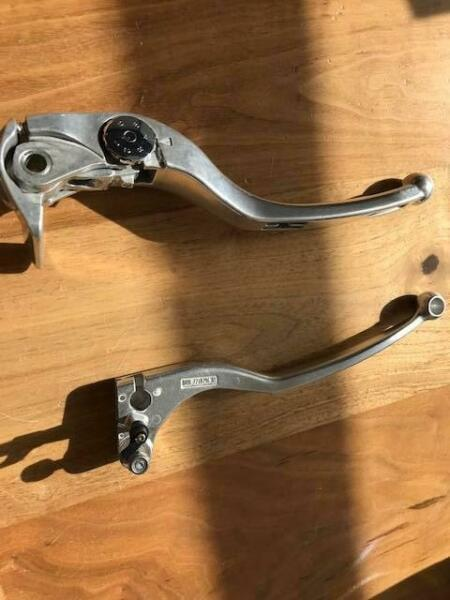 BMW S1000R Parts - Windshield, break and clutch levers, and rear pegs