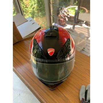 Ducati motorcycle helmet and gloves